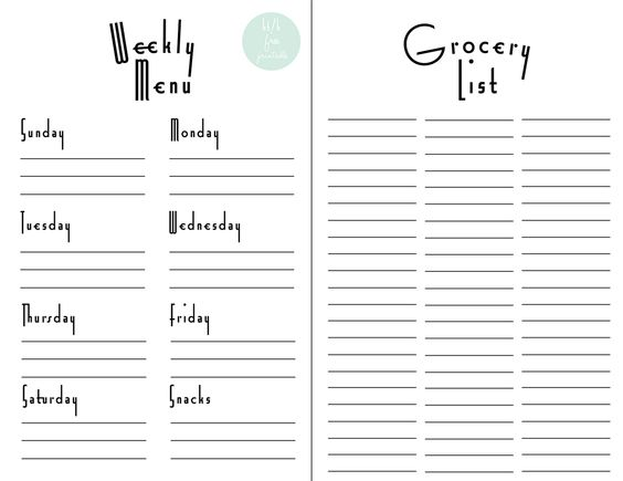 Free Printable Weekly Meal Planner With Grocery List  Grocery List Organizer Template