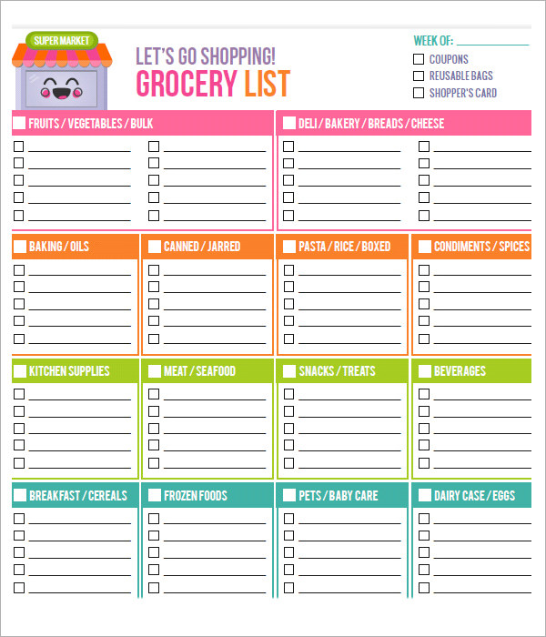 Great General Grocery List Printables In Printable Grocery List Template Free