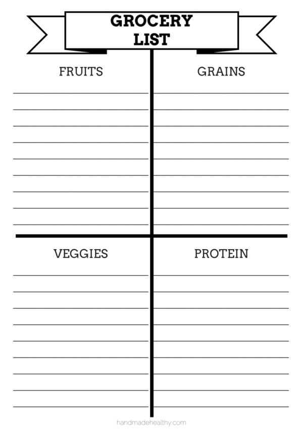 Healthy Grocery List Template  Grocery List Templates