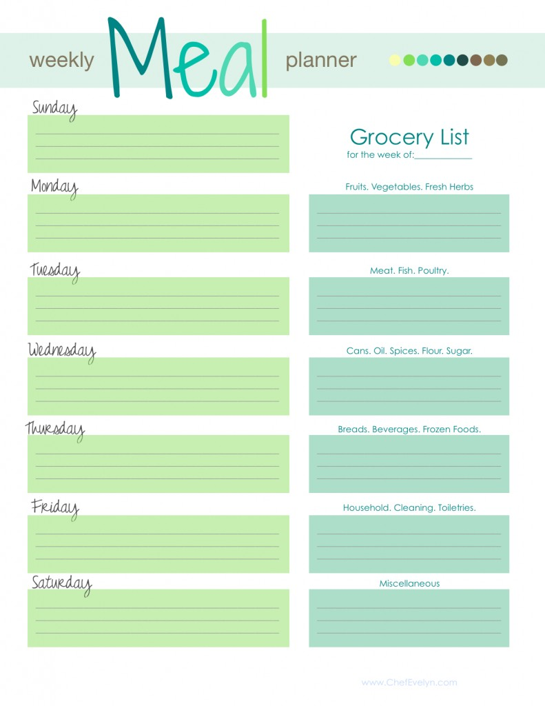 Meal Planning Template With Grocery List  Free Shopping List Template