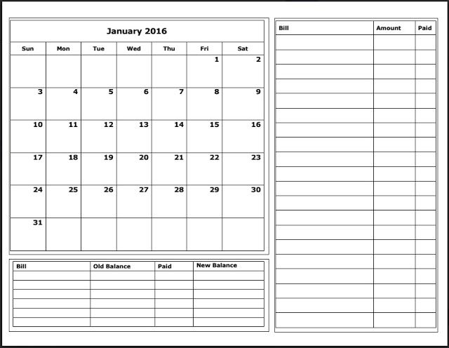 printable monthly budget calendar