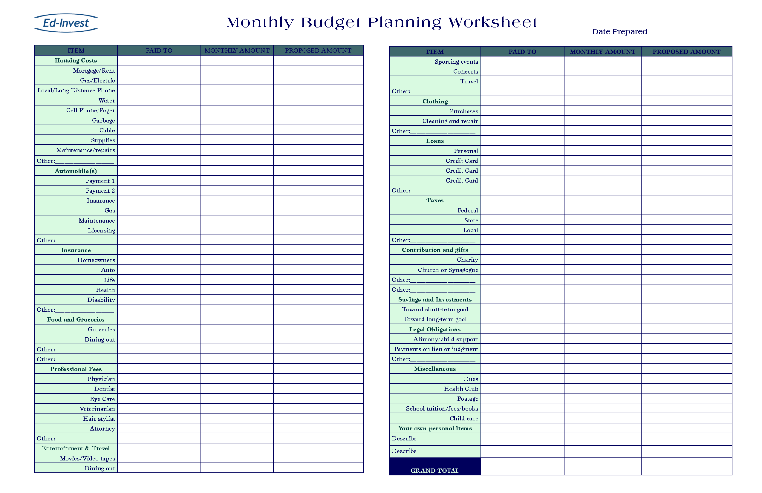 20 Free Printable Monthly Budget Planners – Baby Budget Worksheet