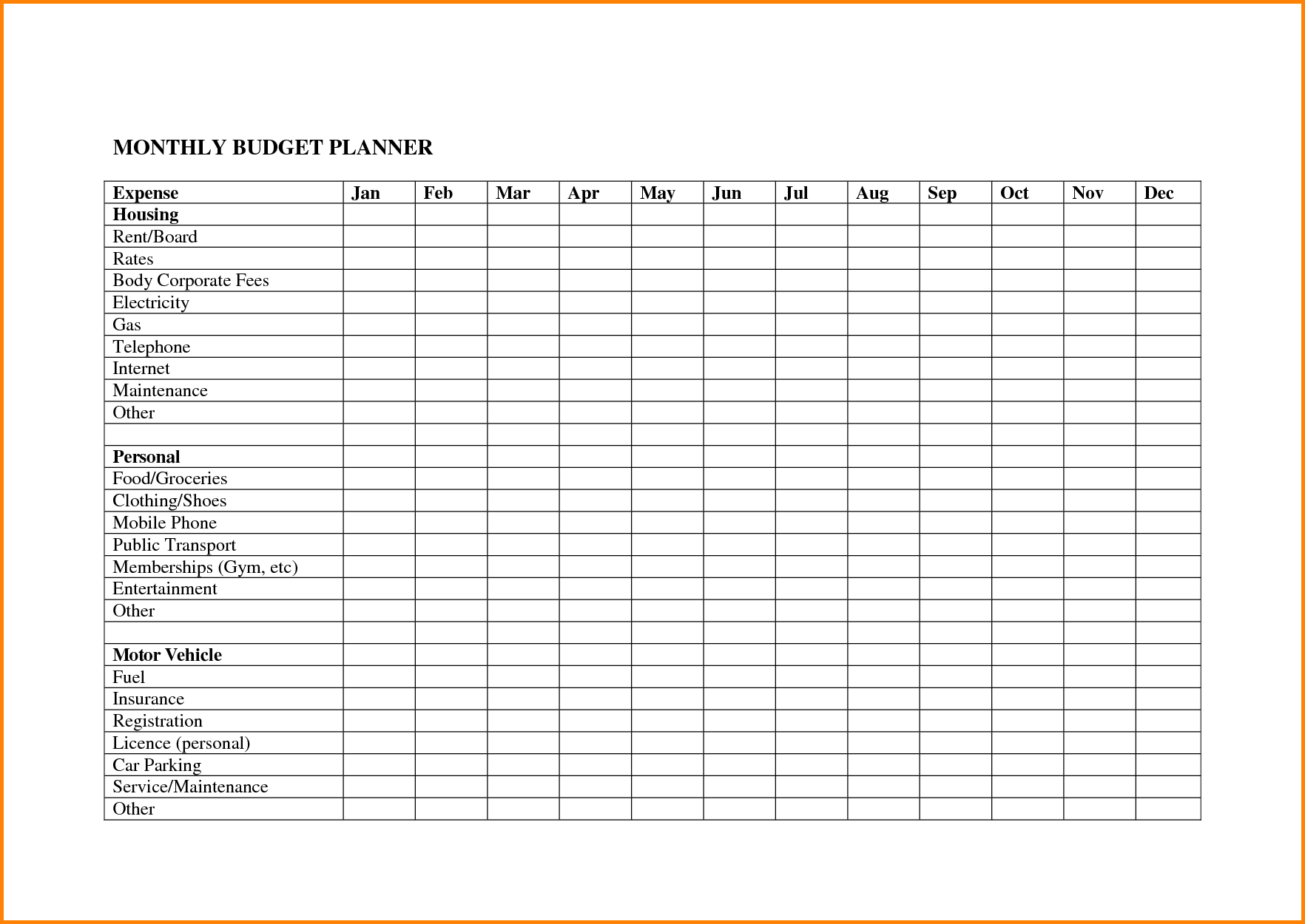 picture relating to Free Budget Planner Printables named 20 Absolutely free Printable Every month Price range Planners