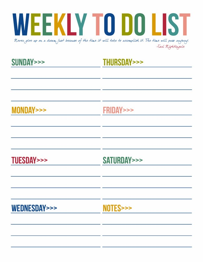 Weekly Calendar List : Printable to do list templates kitty baby love
