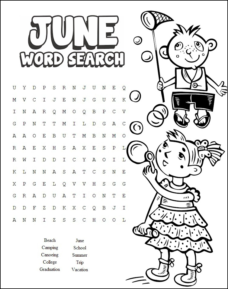 13 Cool Printable Summer Word Searches | Kitty Baby Love