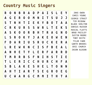 Country Music Word Search