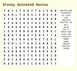 Disney Word Search Printable