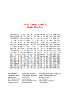 Disney World Word Search