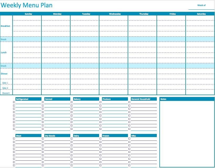 Free Healthy Weekly Meal Planner Template With Grocery List  Menu Planner Template Free