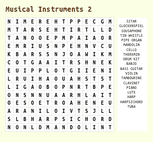 Free Music Word Search