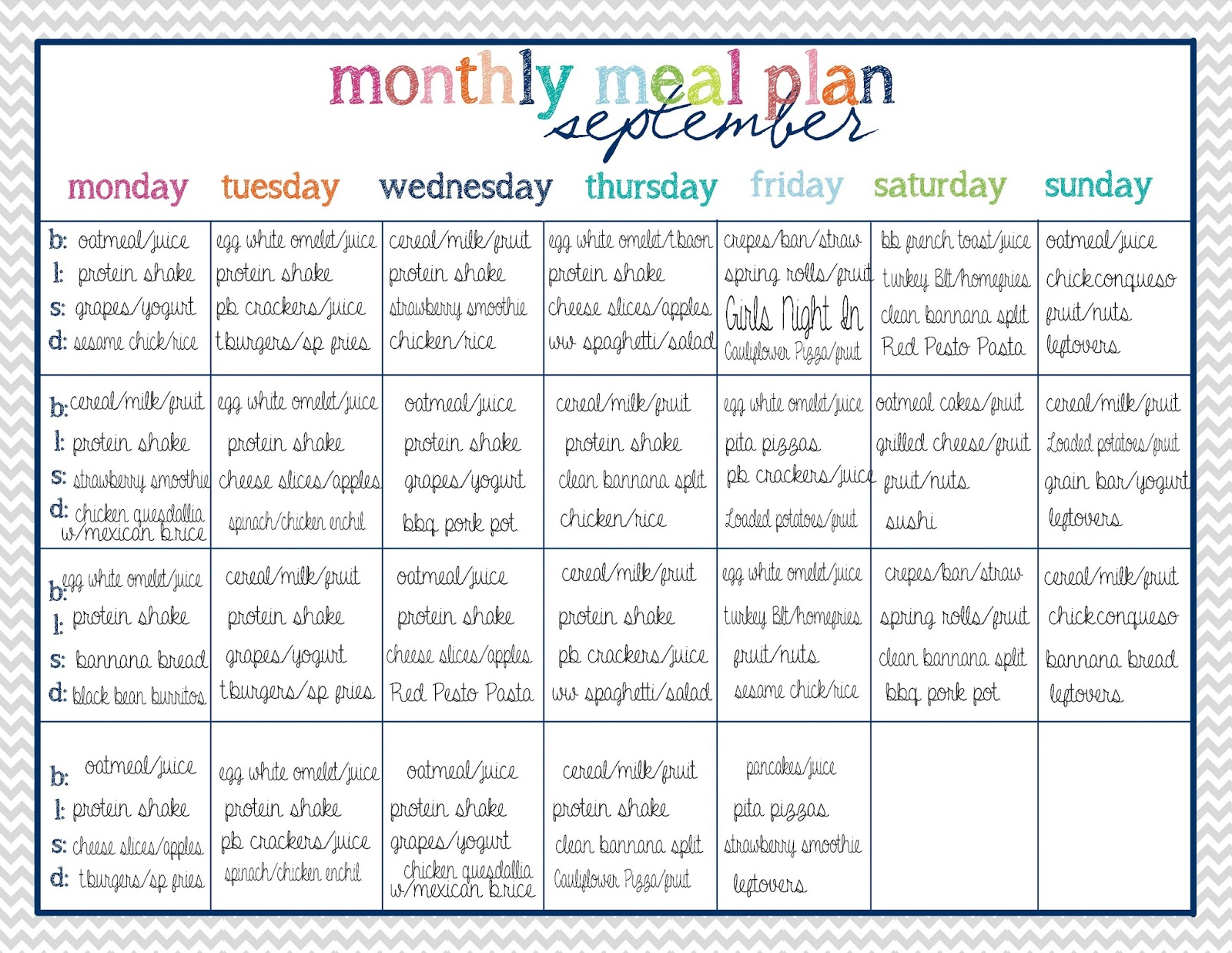 month meal planner template
