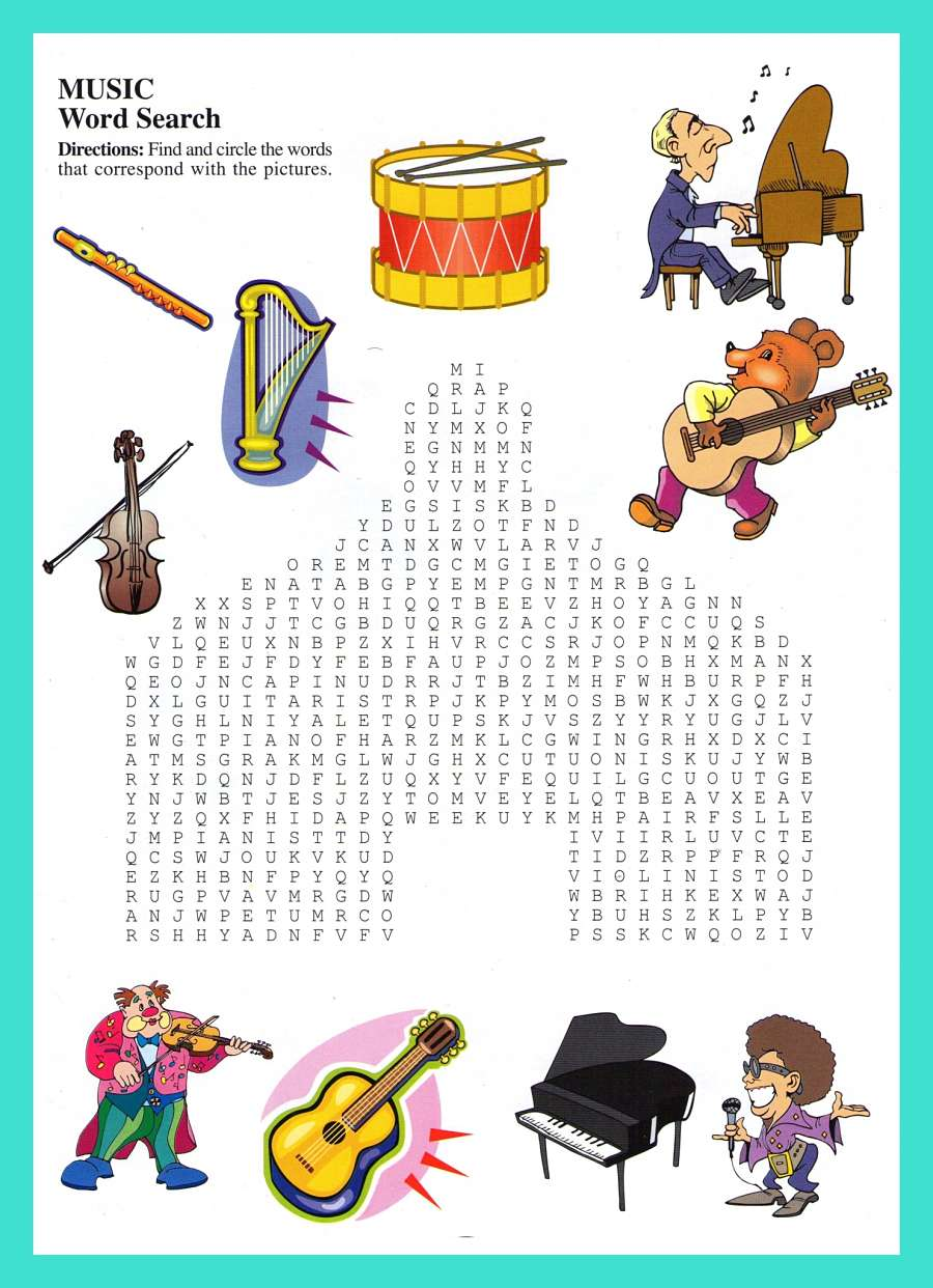 14 Cool Music Word Search Puzzles