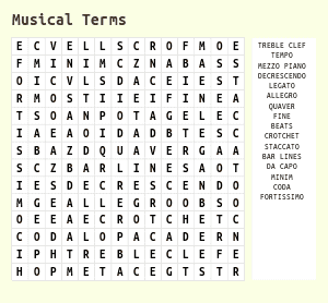 Musical Terms Word Search