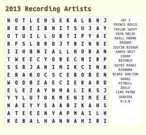 Printable Music Word Search