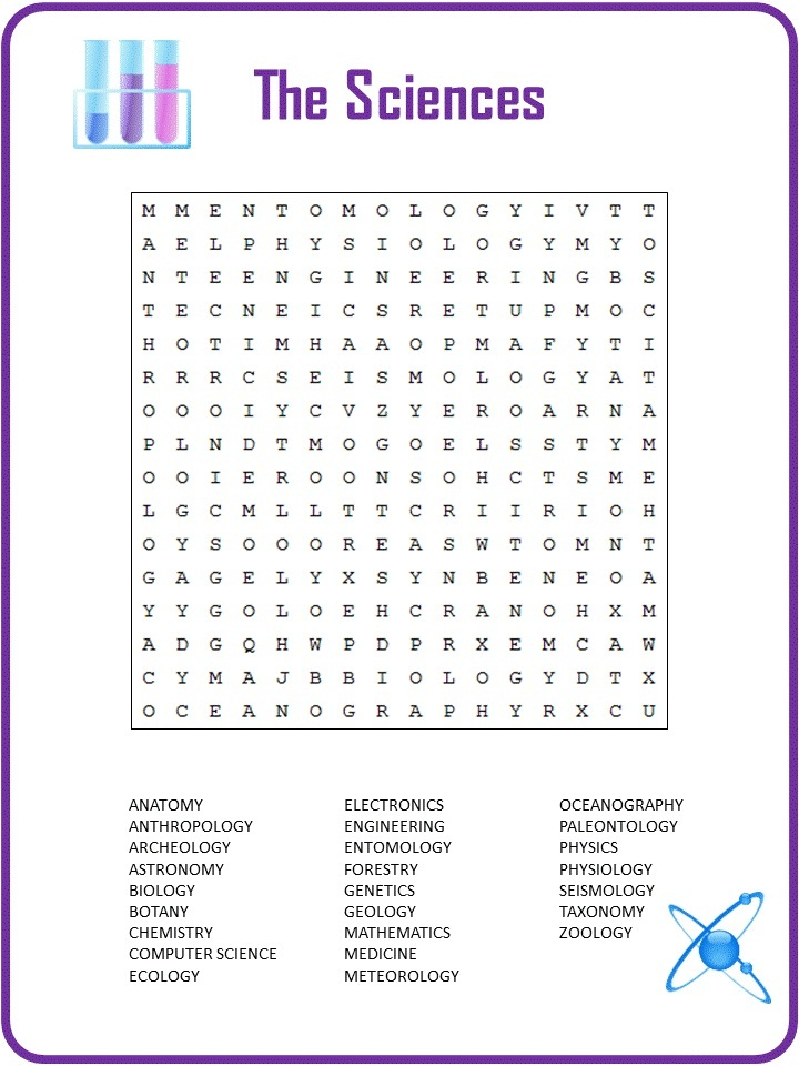21 Knowledgeable Science Word Search | KittyBabyLove.com