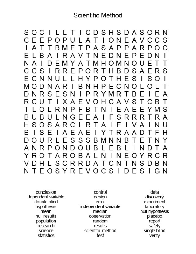 21 knowledgeable science word search