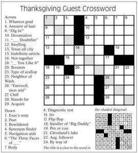 Thanksgiving Crossword Puzzle Answers