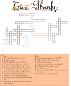 Thanksgiving Crossword Puzzles for Adults