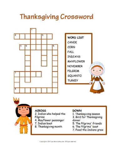 10 Superfun Thanksgiving Crossword Puzzles | KittyBabyLove.com