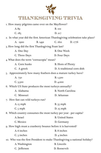 photograph relating to Printable Trivia Questions and Answers known as 10 Thanksgiving Trivia Issues