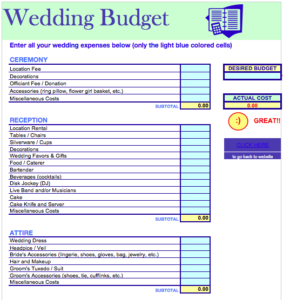 Wedding Budget Planner Spreadsheet