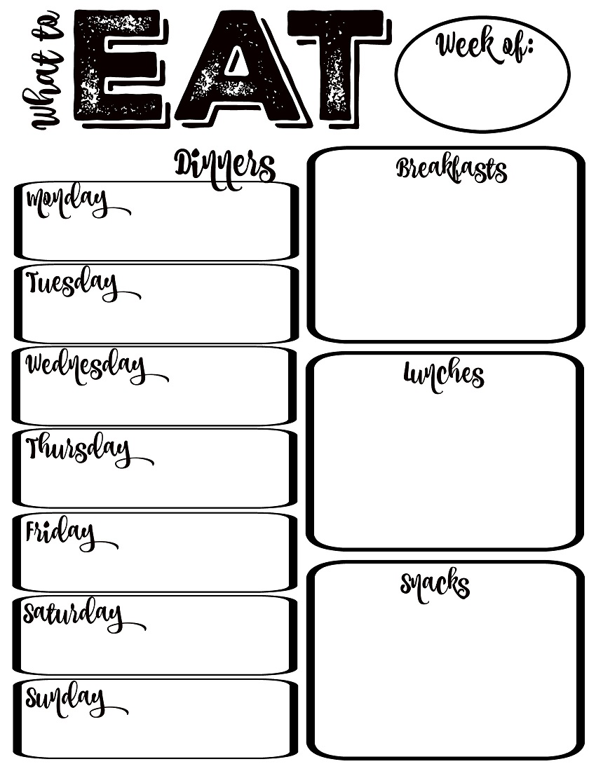 weekly meal planner printable black and white