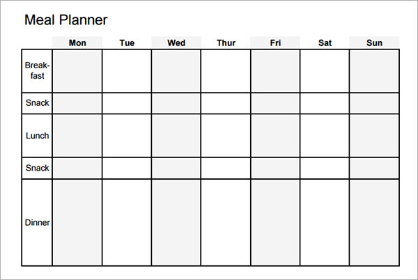 snack schedule template