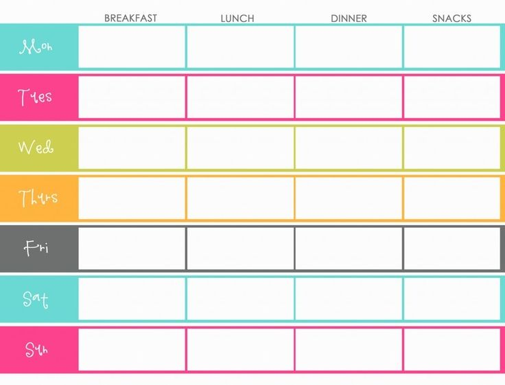 45 Printable Weekly Meal Planner Templates – Diet Menu Template