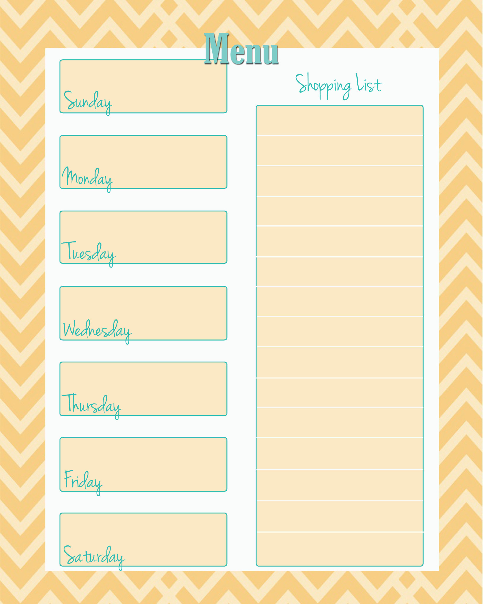 Weekly Menu Planner For One