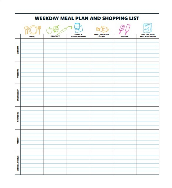 45+ Printable Weekly Meal Planner Templates   Kitty Baby Love