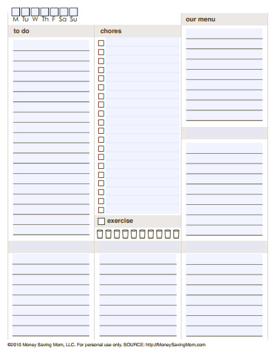 Nice Customizable Daily Planner Template