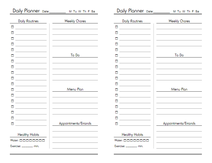 Free Printable Daily Planner Sheets | From Mom's Desk