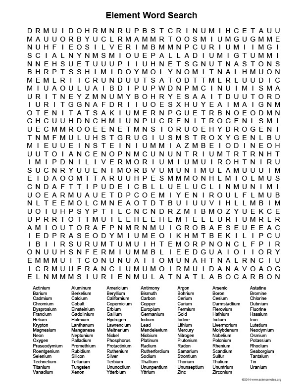 8 Printable Element Word Searches For You Kitty Baby Love