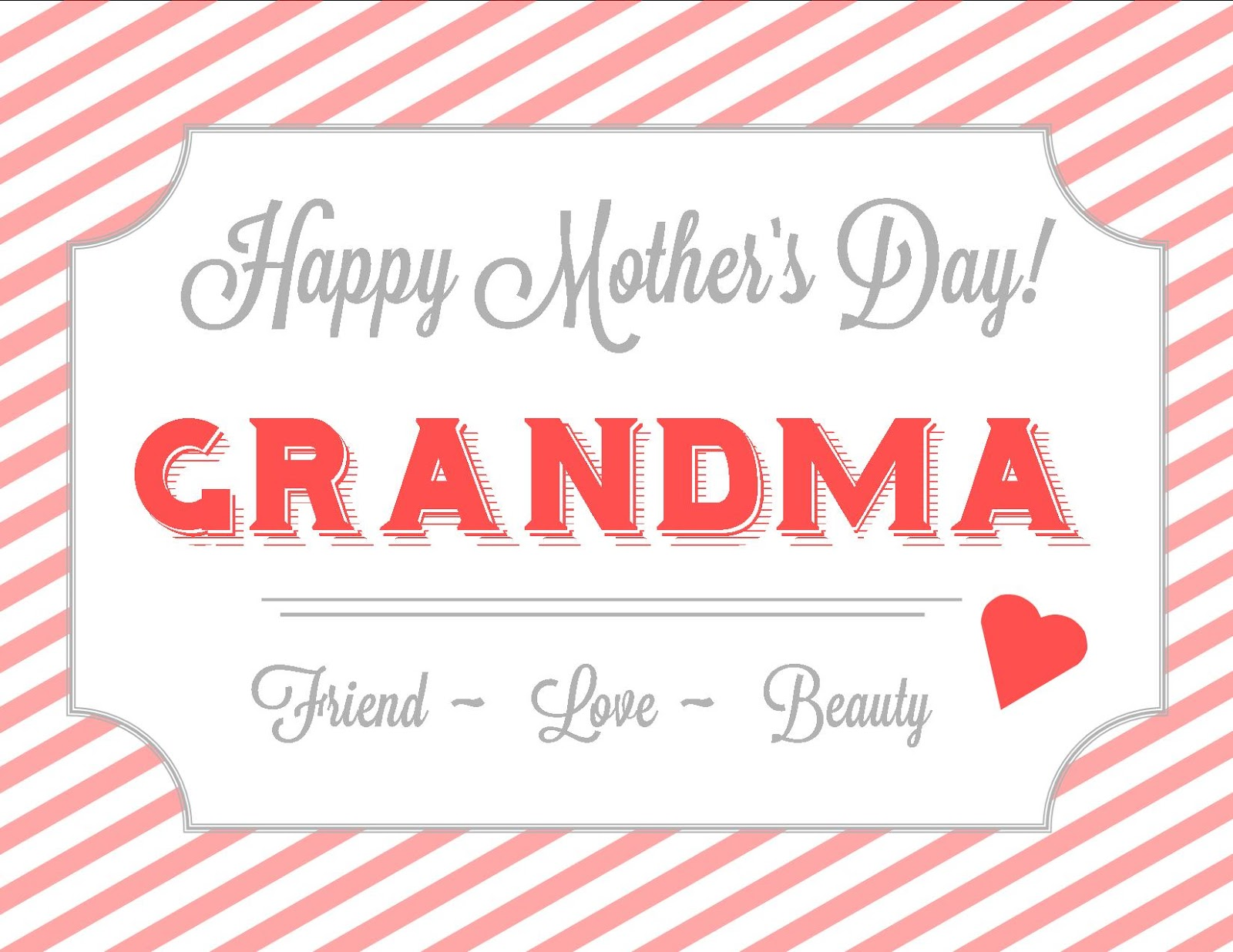 Free Printable Mothers Day Cards for GrandmaKitty Baby Love – Free Printable Mother Birthday Cards