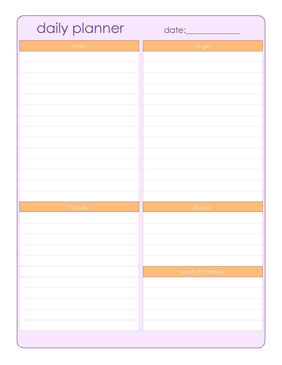 Search Results For Free Daily Planner Templates