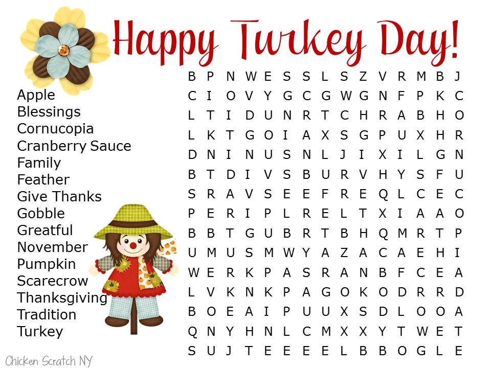20 Thanksgiving Word Searches