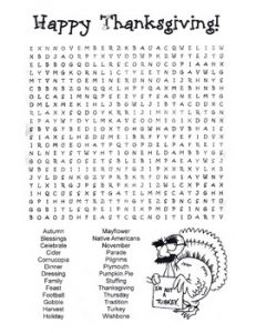 Thanksgiving Word Search Hard