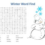 Winter Word Search Printable Free