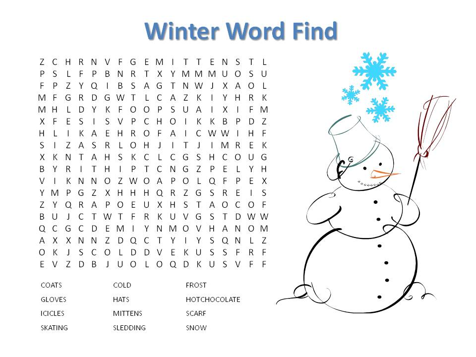 Inventive image in winter word search printable