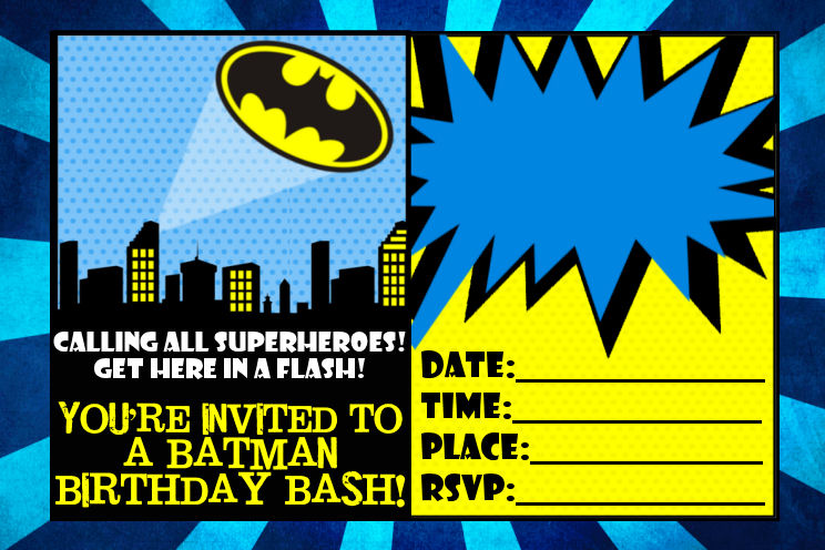Batman Birthday Invitation Cards Invitations Templates