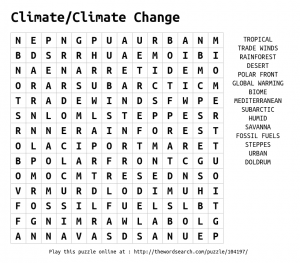 Climate Word Search