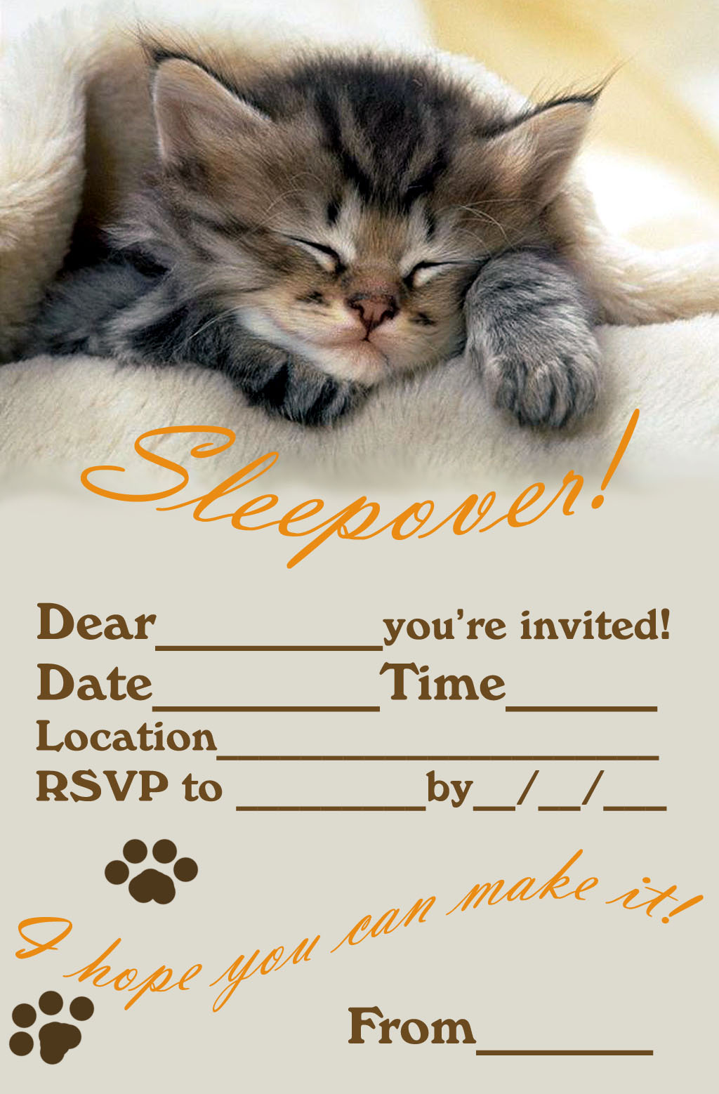 50 Beautiful Slumber Party Invitations Kitty Baby Love