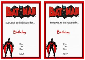 Free Printable Batman Birthday Invitations