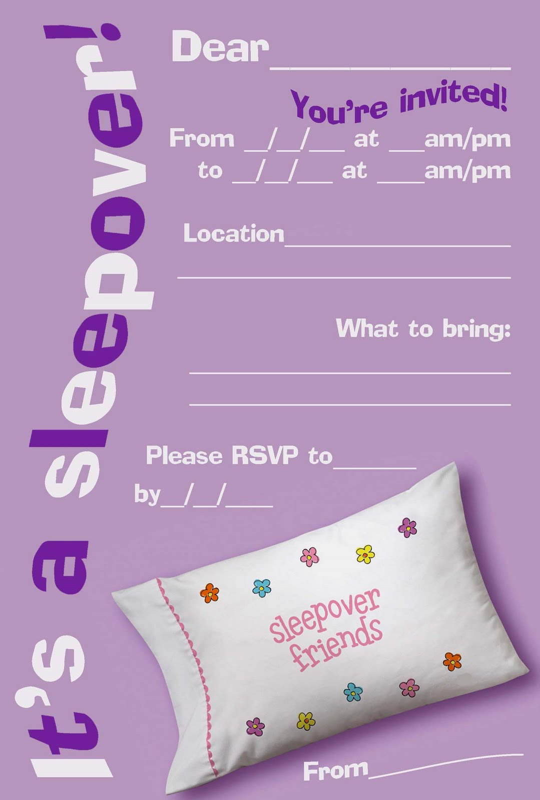 50 Beautiful Slumber Party Invitations – Free Kids Party Invitations to Print