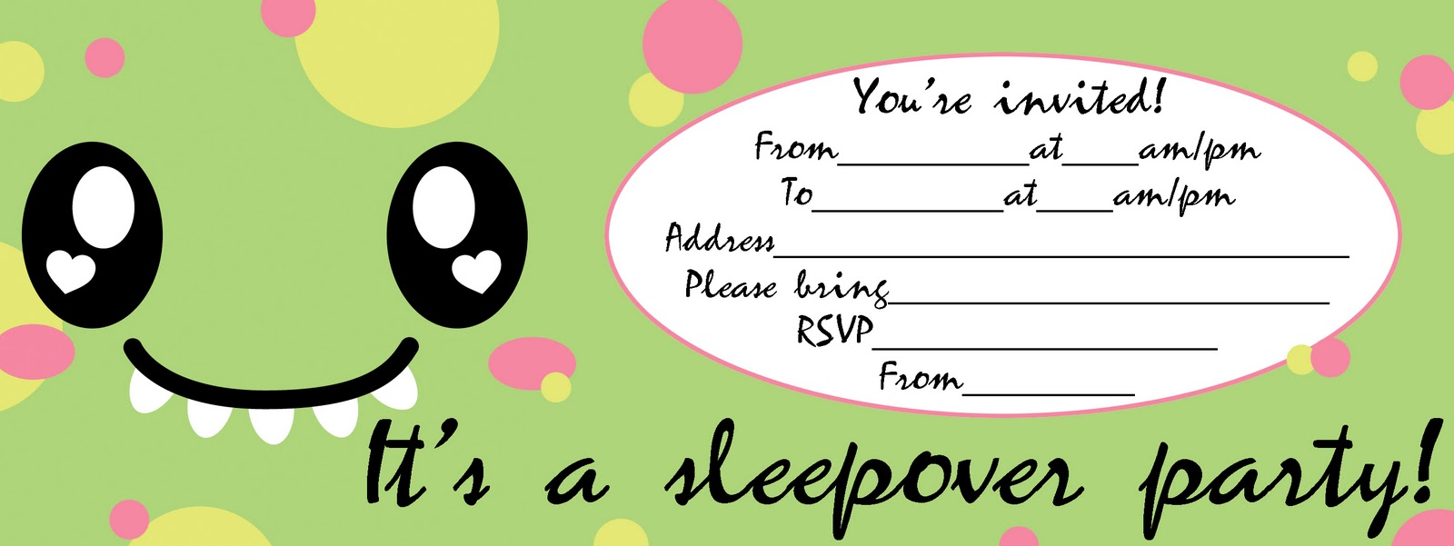 50 Beautiful Slumber Party Invitations | KittyBabyLove.com