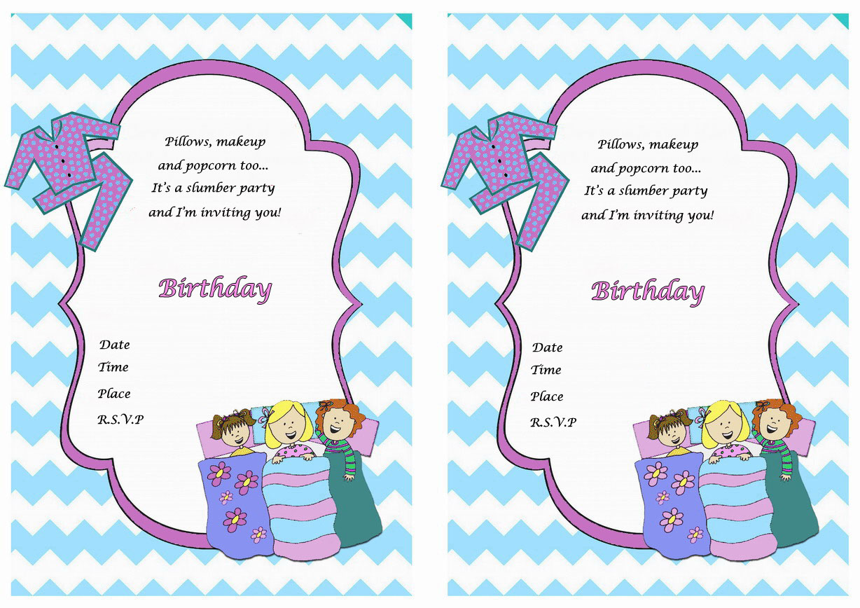 It's just a graphic of Adorable Printable Sleepover Invitations