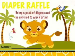 Lion King Baby Shower Diaper Raffle