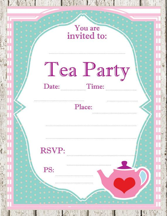 Playful image intended for free printable tea party invitations