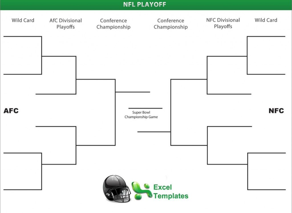 picture about Super Bowl Brackets Printable named Printable NFL Playoff Brackets