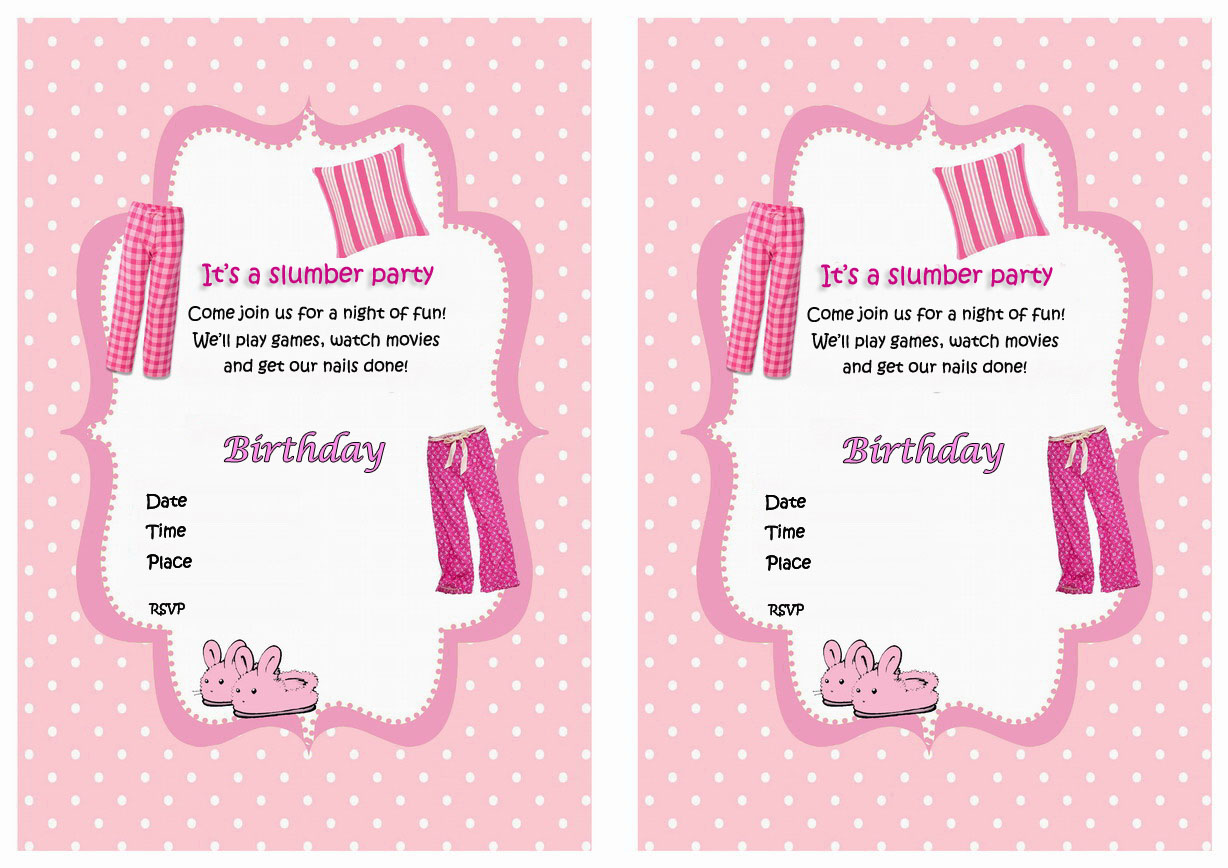 It is a graphic of Inventive Printable Slumber Party Invitations